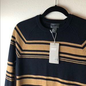 h&m premium cotton navy striped sweater small s